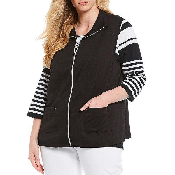 アリソンダーレイ レディース ジャケット&ブルゾン アウター Plus Size San Remo Knit Zipper Front Cotton Blend Vest Black