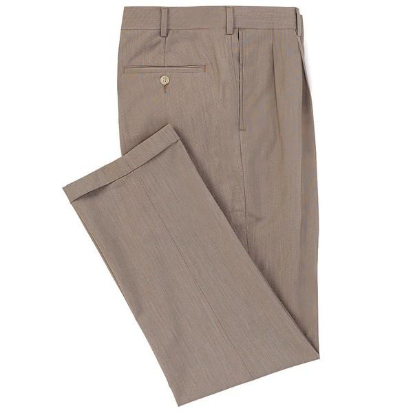 ランドツリーアンドヨーク メンズ カジュアルパンツ ボトムス TravelSmart Fancy Checked Pleated Dress Pants Tan