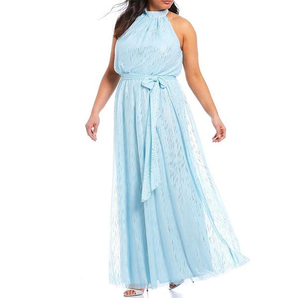 ジェシカハワード レディース ワンピース トップス Plus Size Halter Neck Blouson Tie Sash Metallic Chiffon Gown Aqua