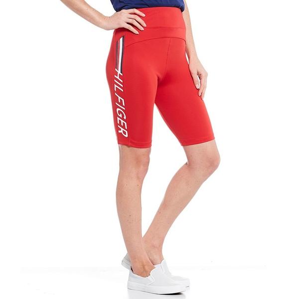トミー ヒルフィガー レディース カジュアルパンツ ボトムス Logo Biker Shorts Scarlet