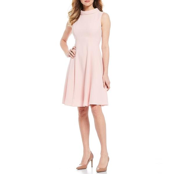 ロンドンタイムス レディース ワンピース トップス Roll Collar Sleeveless Crepe Dress Blush