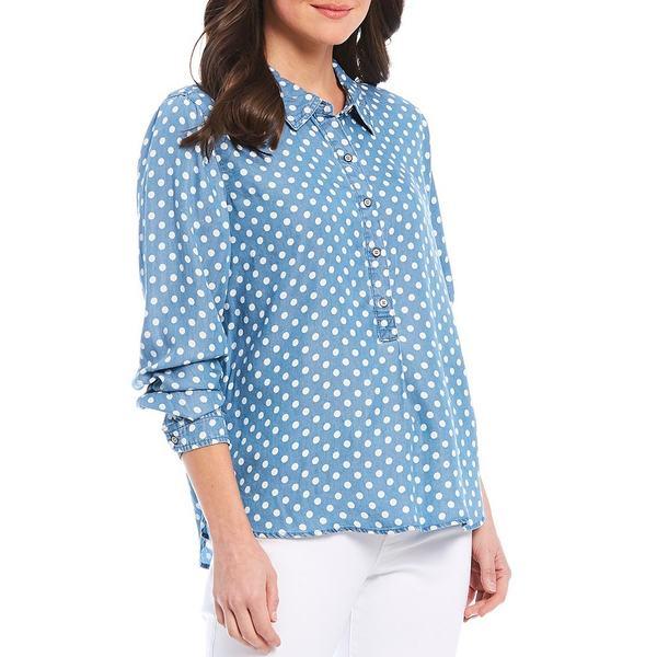 マルチプルズ レディース シャツ トップス Petite Size Polka Dot Print Long Sleeve Button Side Vent Shirt Light Indigo