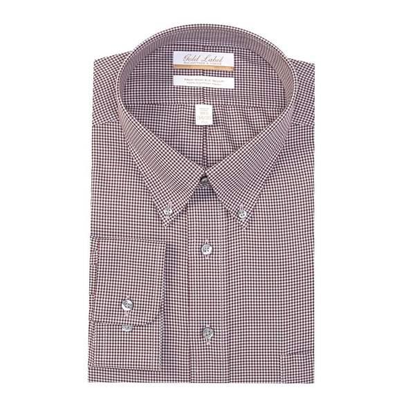 ランドツリーアンドヨーク メンズ シャツ トップス Gold Label Roundtree & Yorke Big & Tall Non-Iron Button-Down Collar Houndstooth Dress Shirt Burgundy/blue