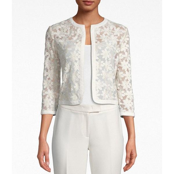 アンクライン レディース ジャケット&ブルゾン アウター Sheer Broderie Cropped Lace Cotton Blend Cardigan Anne White