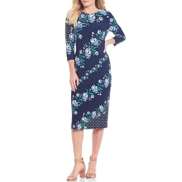 マギーロンドン レディース ワンピース トップス Floral Printed Stretch Matte Jersey Midi Dress Navy/Steel Blue