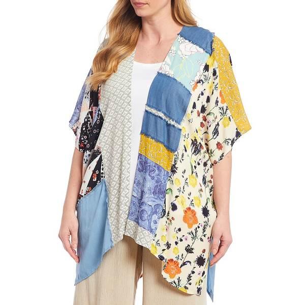 ジョンマーク レディース ニット&セーター アウター Plus Size Chambray & Woven Crepe Mixed Print Kimono Cardigan Multi