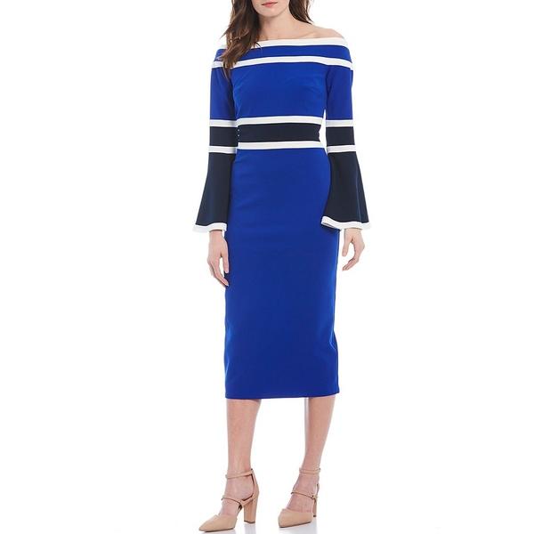 タダシショージ レディース ワンピース トップス Off-the-Shoulder Bell Sleeve Stripe Colorblock Crepe Midi Dress Royal Blue/Multi