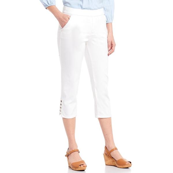 イントロ レディース カジュアルパンツ ボトムス Petite Size Rose Metal Ring Trim Hem Details Pull-On Cotton Blend Capri Pant Bright White