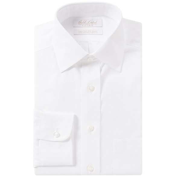 ランドツリーアンドヨーク メンズ シャツ トップス Gold Label Roundtree & Yorke Non-Iron Fitted Spread-Collar Solid Dress Shirt White