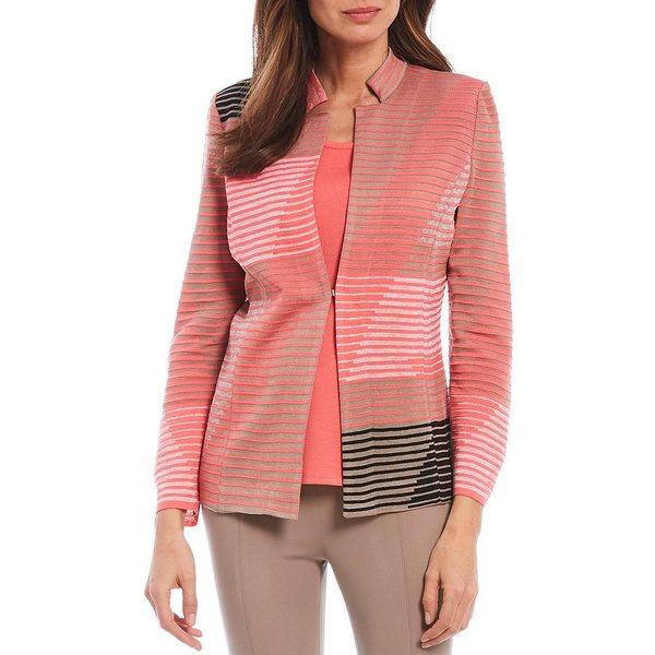 ミソーク レディース ジャケット&ブルゾン アウター Abstract Stripe Mandarin Collar Jacket Coral/Multi