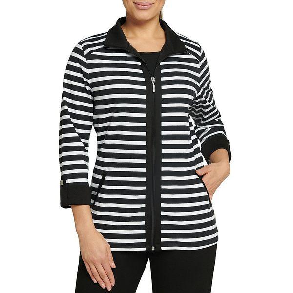 アリソンダーレイ レディース ジャケット&ブルゾン アウター Petite Size Striped San Remo Knit Zipper Front Jacket White/Black Stripe