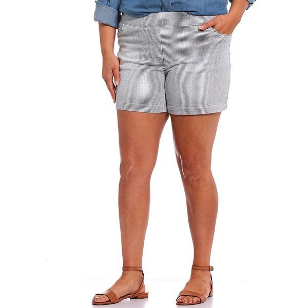 ウェストボンド レディース カジュアルパンツ ボトムス Plus Size Stripe the PARK AVE fit Shorts Navy/White Micro Stripe