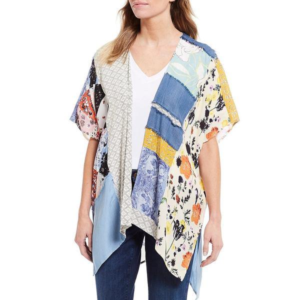 ジョンマーク レディース ジャケット&ブルゾン アウター Chambray & Woven Crepe Mixed Print Kimono Jacket Multi