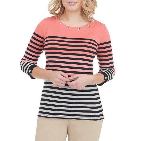 アリソンダーレイ レディース Tシャツ トップス Petite Size Grommet Crew Neck 3/4 Sleeve Stripe Knit Top Coral Khaki Stripe