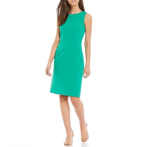 アントニオメラニー レディース ワンピース トップス Rena Stretch Crepe High Neck Sleeveless Sheath Dress Clover Green