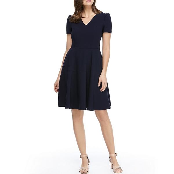 ギャルミーツグラムコレクション レディース ワンピース トップス Kate V-Neck Puff Sleeve Fit & Flare Dress Navy