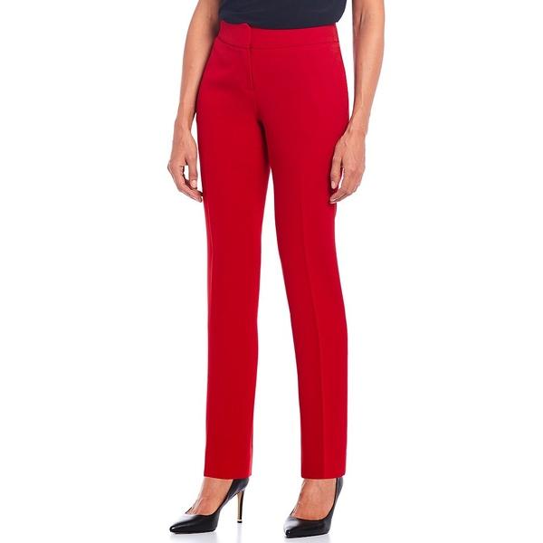 カスパー レディース カジュアルパンツ ボトムス Petite Solid Crepe Slim Pant Fire Red