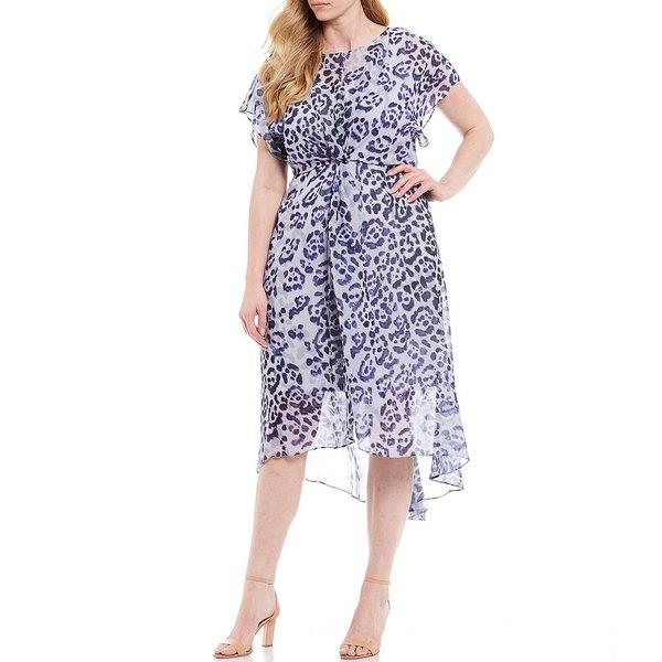 アドリアナ パペル レディース ワンピース トップス Plus Size Leopard Print Chiffon Keyhole Neck Twist Front Dress Purple Multi