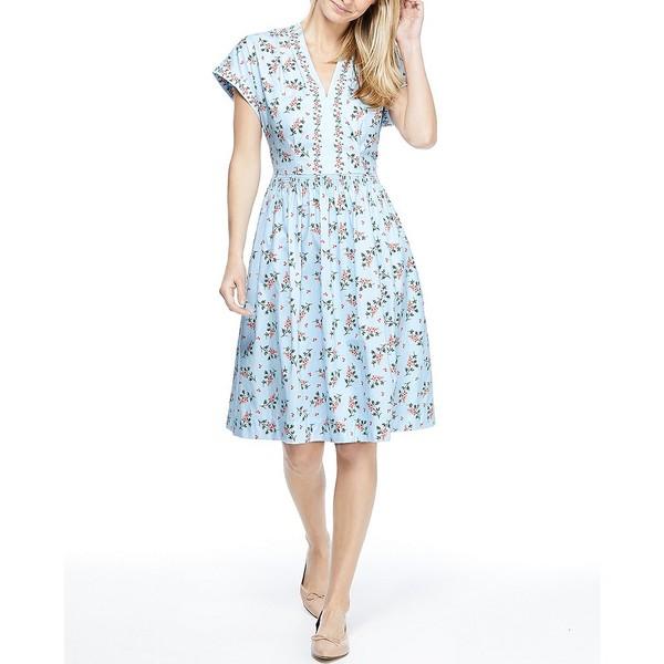 ギャルミーツグラムコレクション レディース ワンピース トップス Cecily V-Neck Floral Print Cotton Dress Blue/Coral
