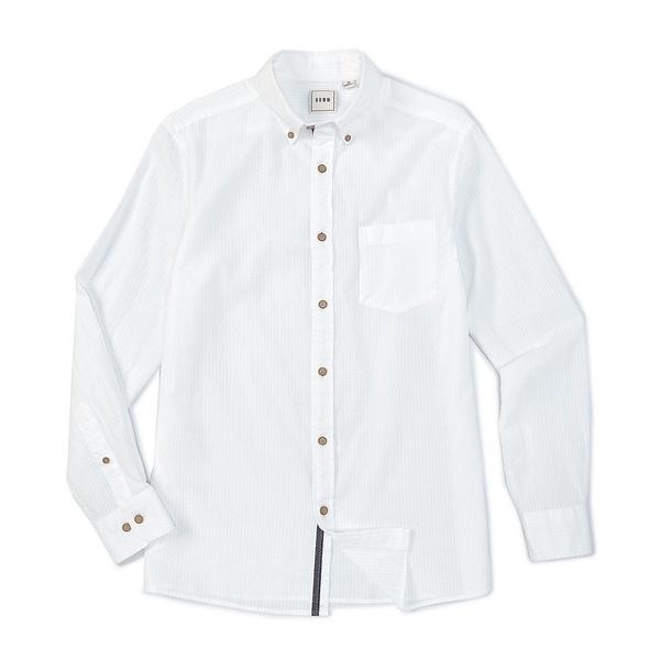 ロウン メンズ シャツ トップス Long-Sleeve Solid Seersucker Sportshirt White