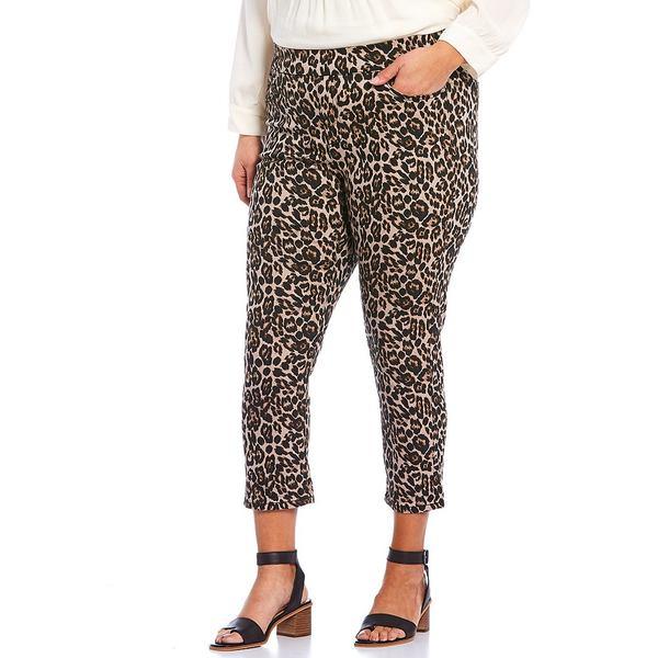 ウェストボンド レディース カジュアルパンツ ボトムス Plus Size the HIGH RISE fit Crop Pants Animal