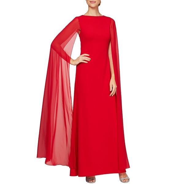 アレックスイブニングス レディース ワンピース トップス Long Cape Sleeve Crepe Gown True Red