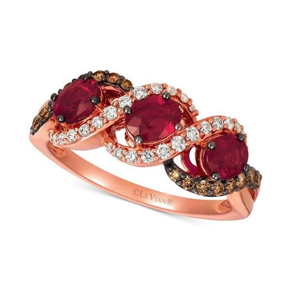 公式の  ルヴァン レディース リング アクセサリー Passion Ruby (1-1/4 ct. t.w.), Vanilla Diamonds® (1/5 ct. t.w.) & Chocolate Diamonds® (1/5 ct. t.w.) Statement Ring in 14k Rose Gold Ruby, ヤマトデザイン fefadb60