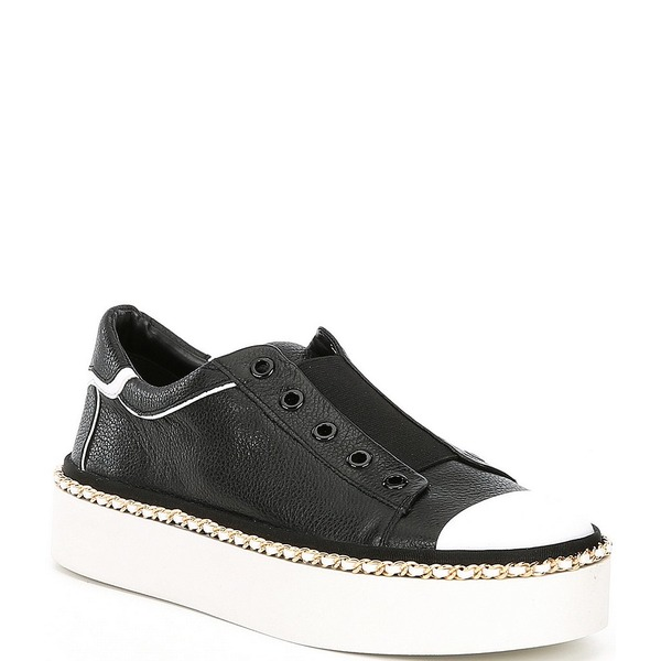 カールラガーフェルド レディース スニーカー シューズ Axelle Leather Chain Welt Platform Sneakers Black/Bright White