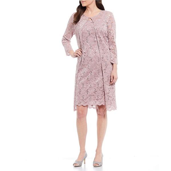 マリーナ レディース ワンピース トップス 2-Piece Scalloped Sequin Stretch Lace Jacket Dress Mauve