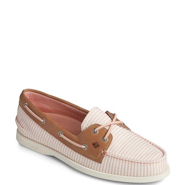 スペリー レディース デッキシューズ シューズ Women's Authentic Original 2-Eye Seersucker Stripe Boat Shoes Pink
