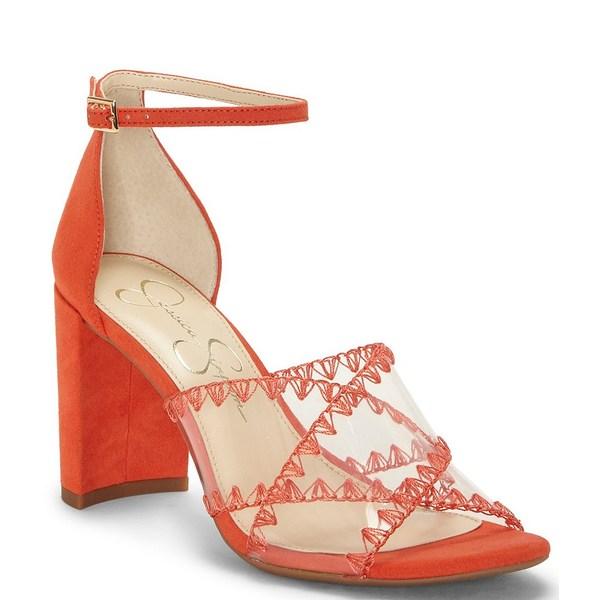 ジェシカシンプソン レディース サンダル シューズ Nikaye Clear Whip Stitch Block Heel Sandals Red