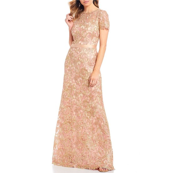 タダシショージ レディース ワンピース トップス Corded Metallic Floral Lace Ribbon Waist Detail Gown Petal/Gold