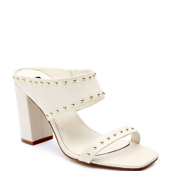 サンクチュアリー レディース サンダル シューズ Spears Stud Leather Square Toe Block Sandals Bone