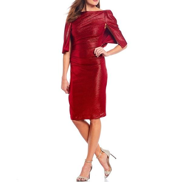 エリザジェイ レディース ワンピース トップス Metallic Capelet Ruched Sheath Dress Red
