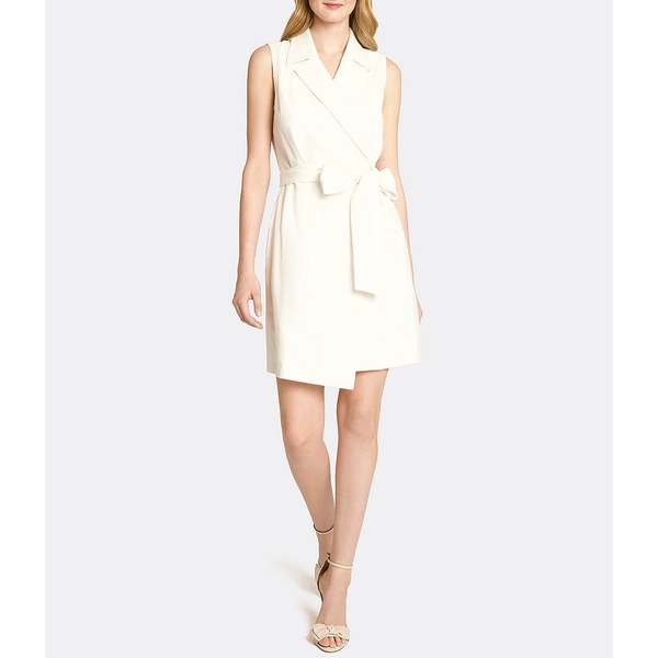 タハリエーエスエル レディース ワンピース トップス Notch Collared Linen Blend Faux Wrap Dress Ivory