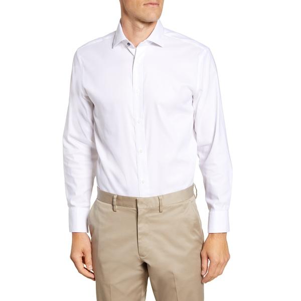 サイコバニー メンズ シャツ トップス Modern Fit Solid Stretch Cotton Blend Dress Shirt White Solid
