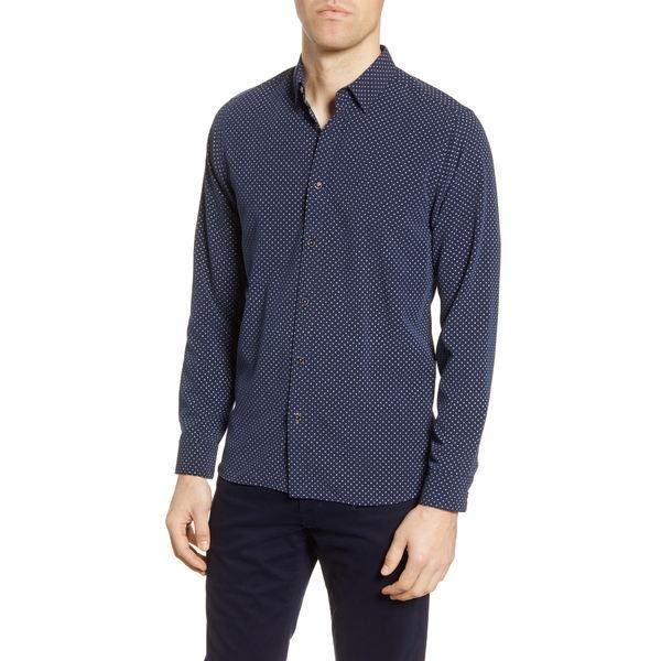 テッドベーカー メンズ シャツ トップス Geo Print Slim Fit Button-Up Shirt Navy