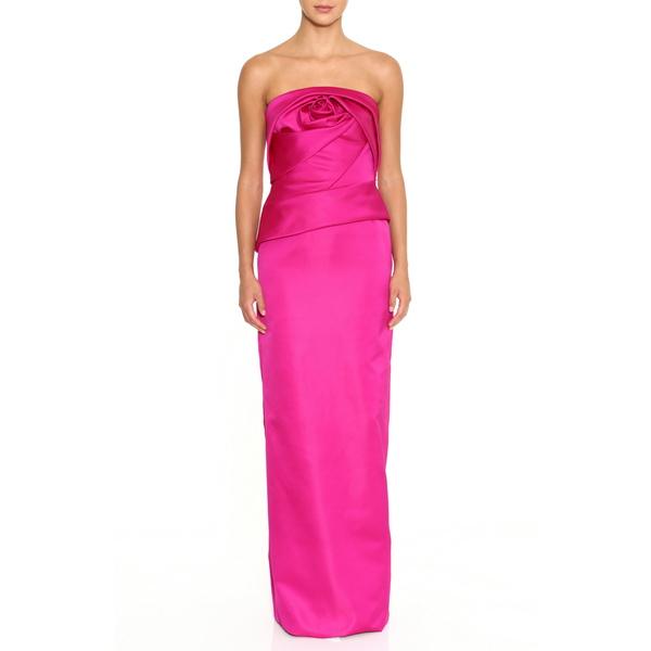 マルケッサ レディース ワンピース トップス Rose Bodice Strapless Column Gown Fuchsia