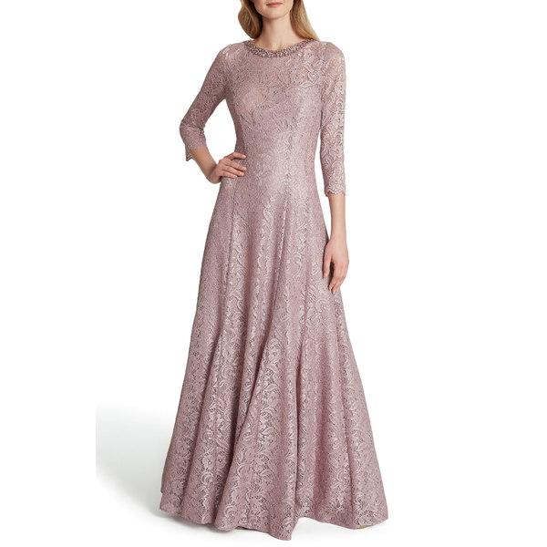 タハリ レディース ワンピース トップス Beaded Neck Stretch Lace Gown Mauve