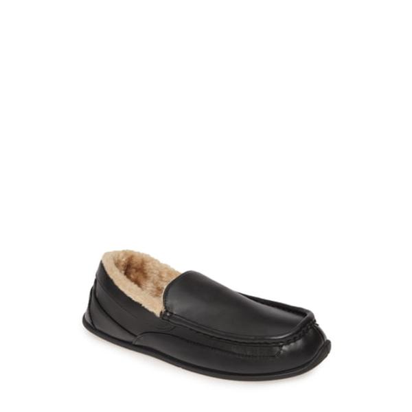 ディアースタッグス メンズ サンダル シューズ Spun Slipper Black Faux Leather