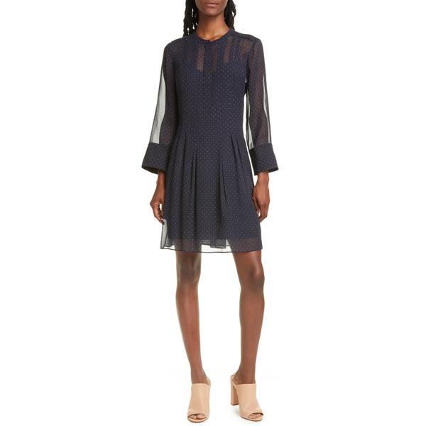 クラブ モナコ レディース ワンピース トップス Anneliane Dot Print Pintuck Detail Silk Georgette Dress Blue Multi