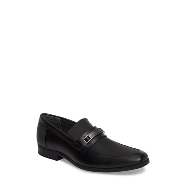 カルバンクライン メンズ スリッポン・ローファー シューズ Jameson Embossed Loafer Black Leather