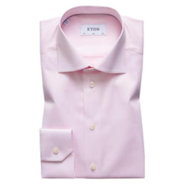 エトン メンズ シャツ トップス Slim Fit Solid Dress Shirt Pink