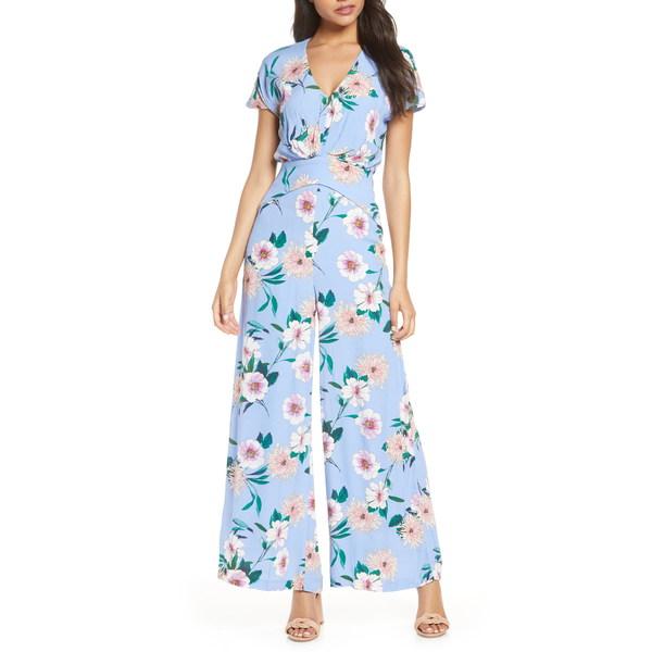 テイラードレス レディース ワンピース トップス Floral Print Wide Leg Jumpsuit Cote Blue