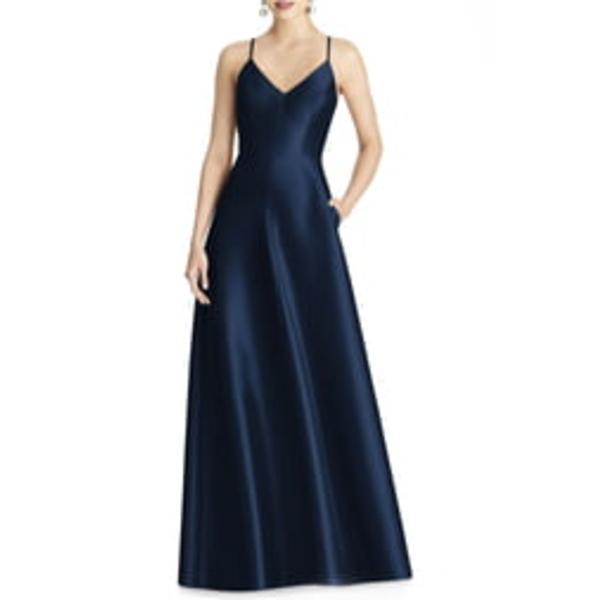 アルフレッド レディース ワンピース トップス Crossback Satin Twill A-Line Gown Midnight