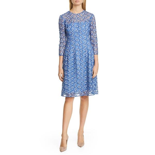 リラローズ レディース ワンピース トップス Holly Embroidered A-Line Mesh Dress Cornflower Blue