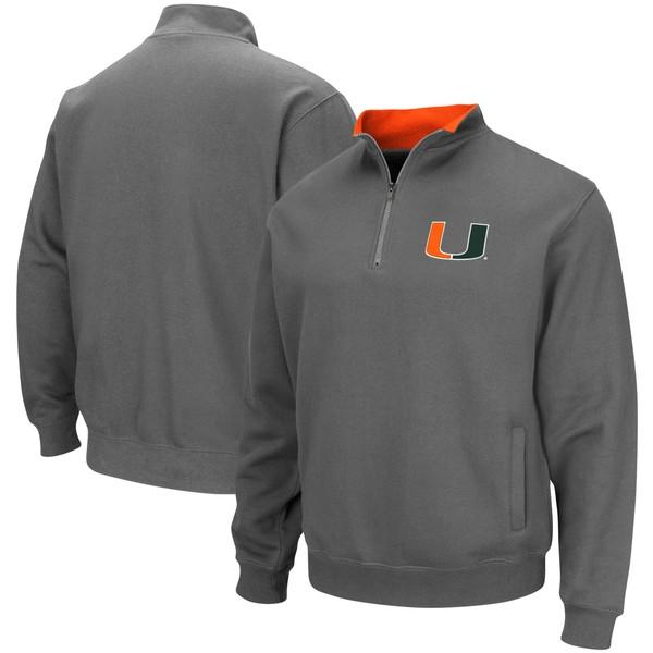 コロシアム メンズ ジャケット&ブルゾン アウター Miami Hurricanes Colosseum Tortugas Logo QuarterZip Pullover Jacket Charcoal