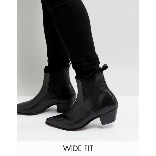 エイソス メンズ ブーツ&レインブーツ シューズ ASOS DESIGN Wide Fit stacked heel western boots in black leather with lightning detail Black