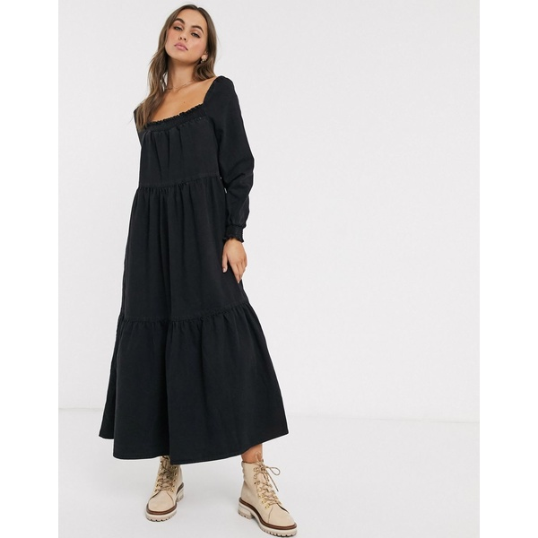 エイソス レディース ワンピース トップス ASOS DESIGN denim prairie midi smock dress in black Black