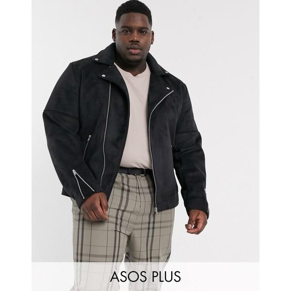 エイソス メンズ ジャケット&ブルゾン アウター ASOS DESIGN Plus faux suede biker jacket in black Black